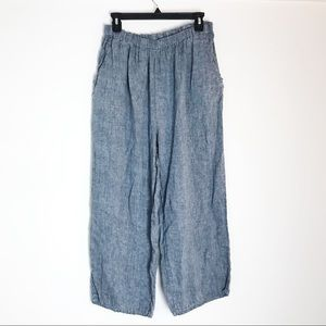 Flax 1G Linen Blue Grey Cropped Lagenlook Pants